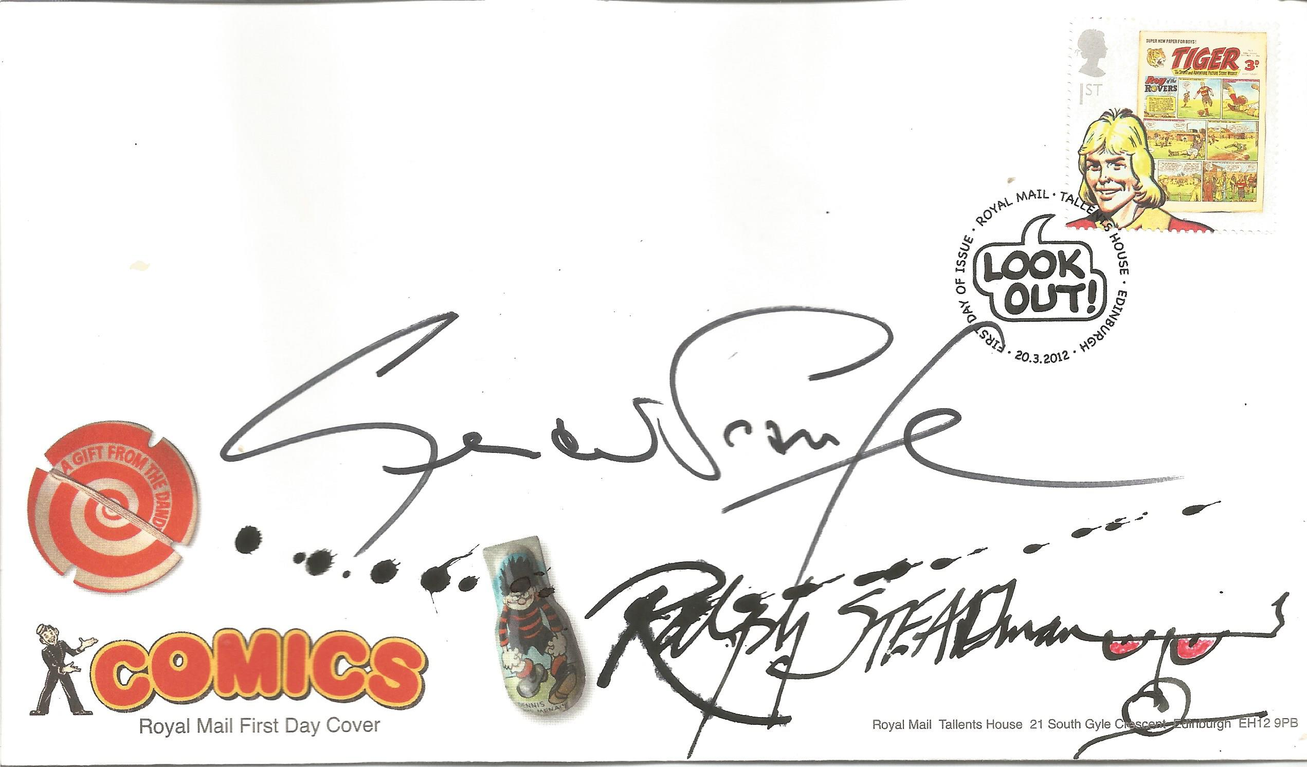 FDC for Comics and signed by Gerald Scarfe, English cartoonist and illustrator. Post marked 2nd