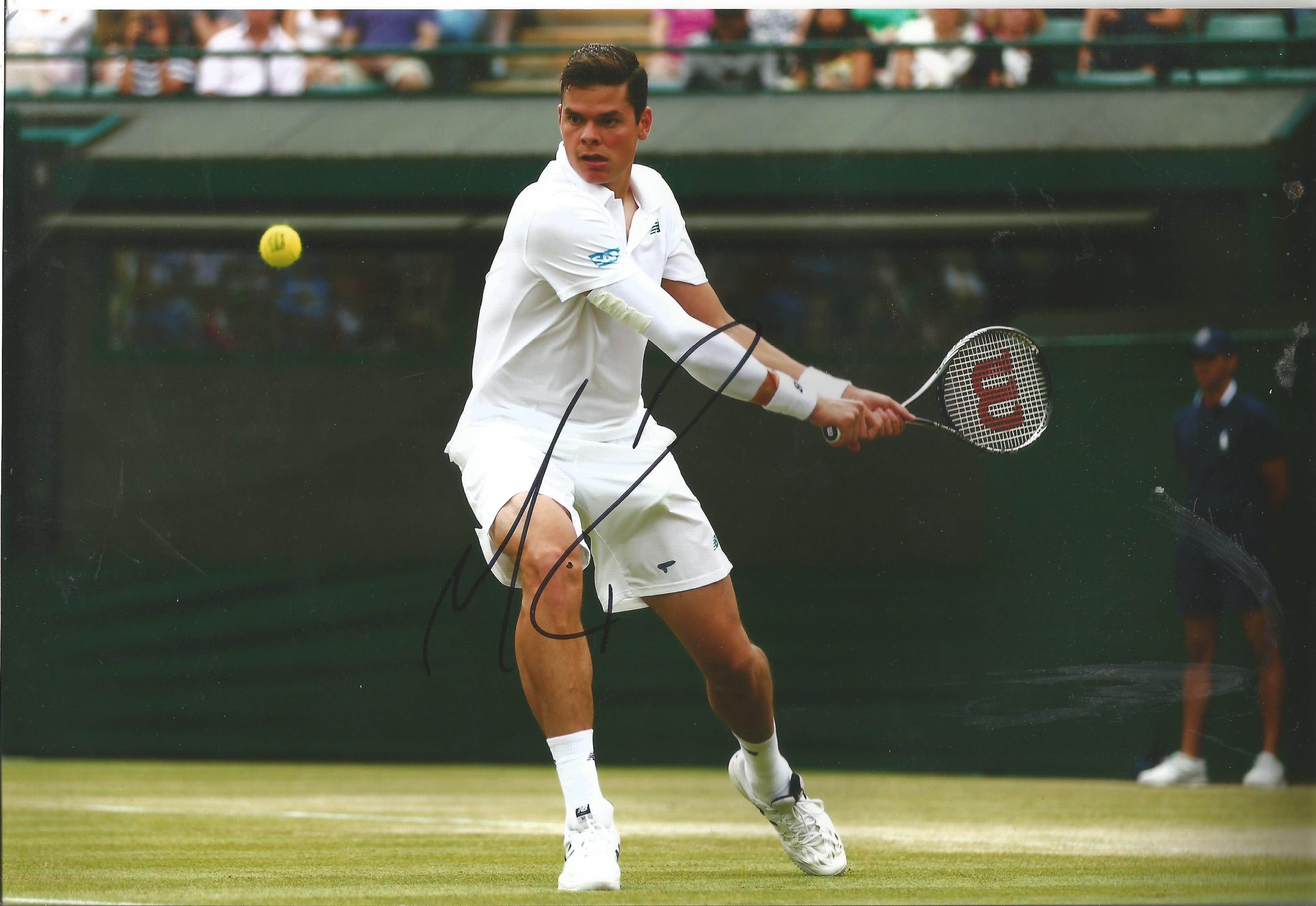 Tennis Milos Raonic signed 12x8 colour photo pictured in action at Wimbledon. Canadian