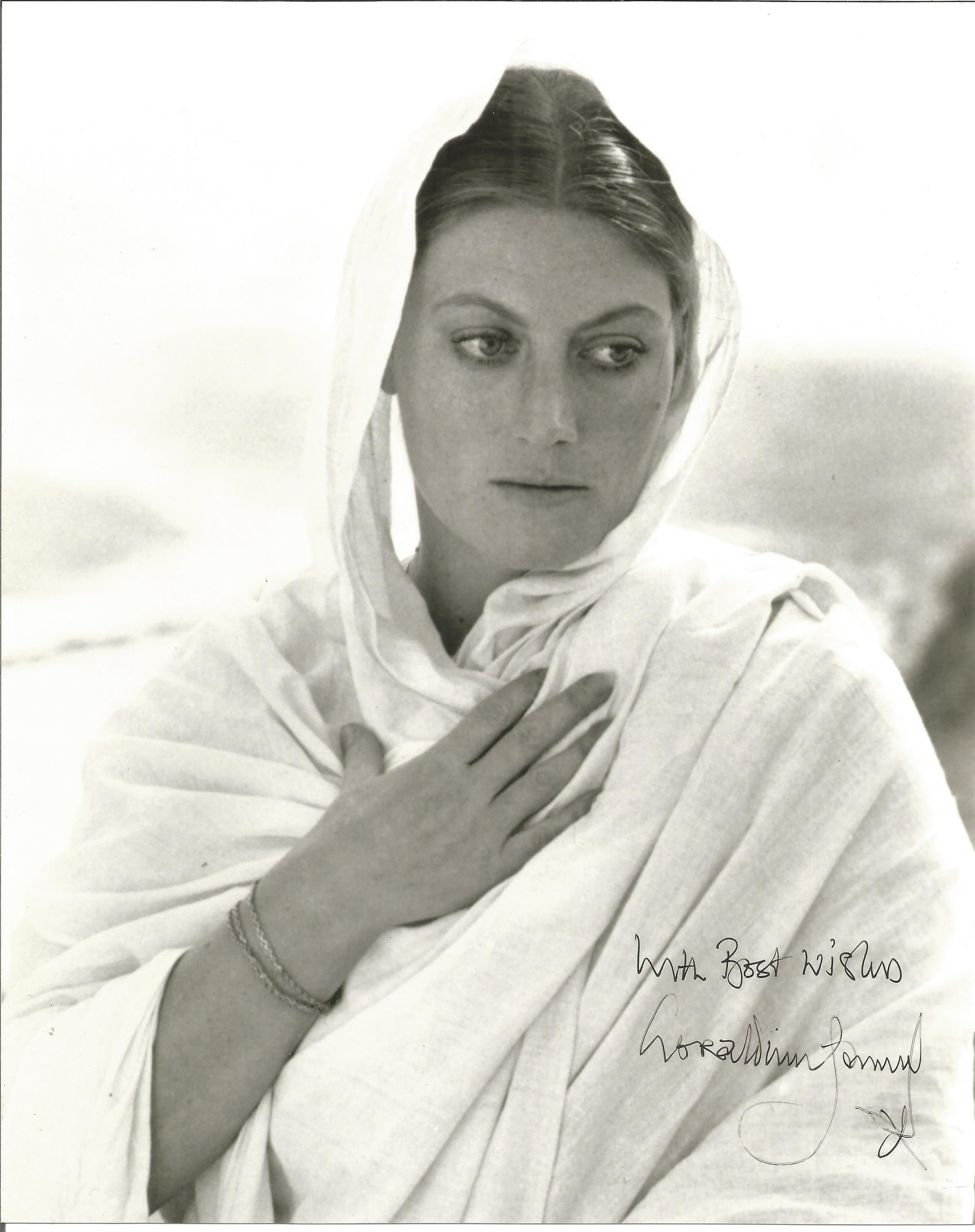 Geraldine James signed 10x8 black and white photograph. James's film credits include Gandhi, The