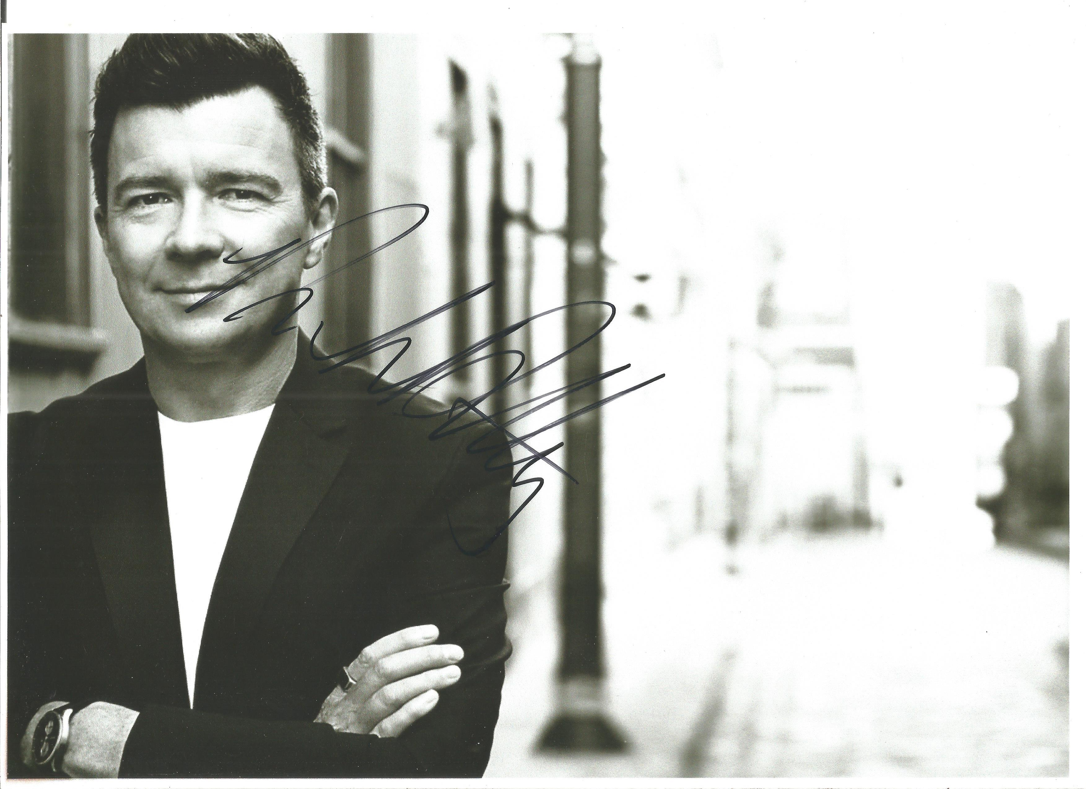 Music Rick Astley signed 10 x 8 inch b/w photo. Good condition. All autographs come with a