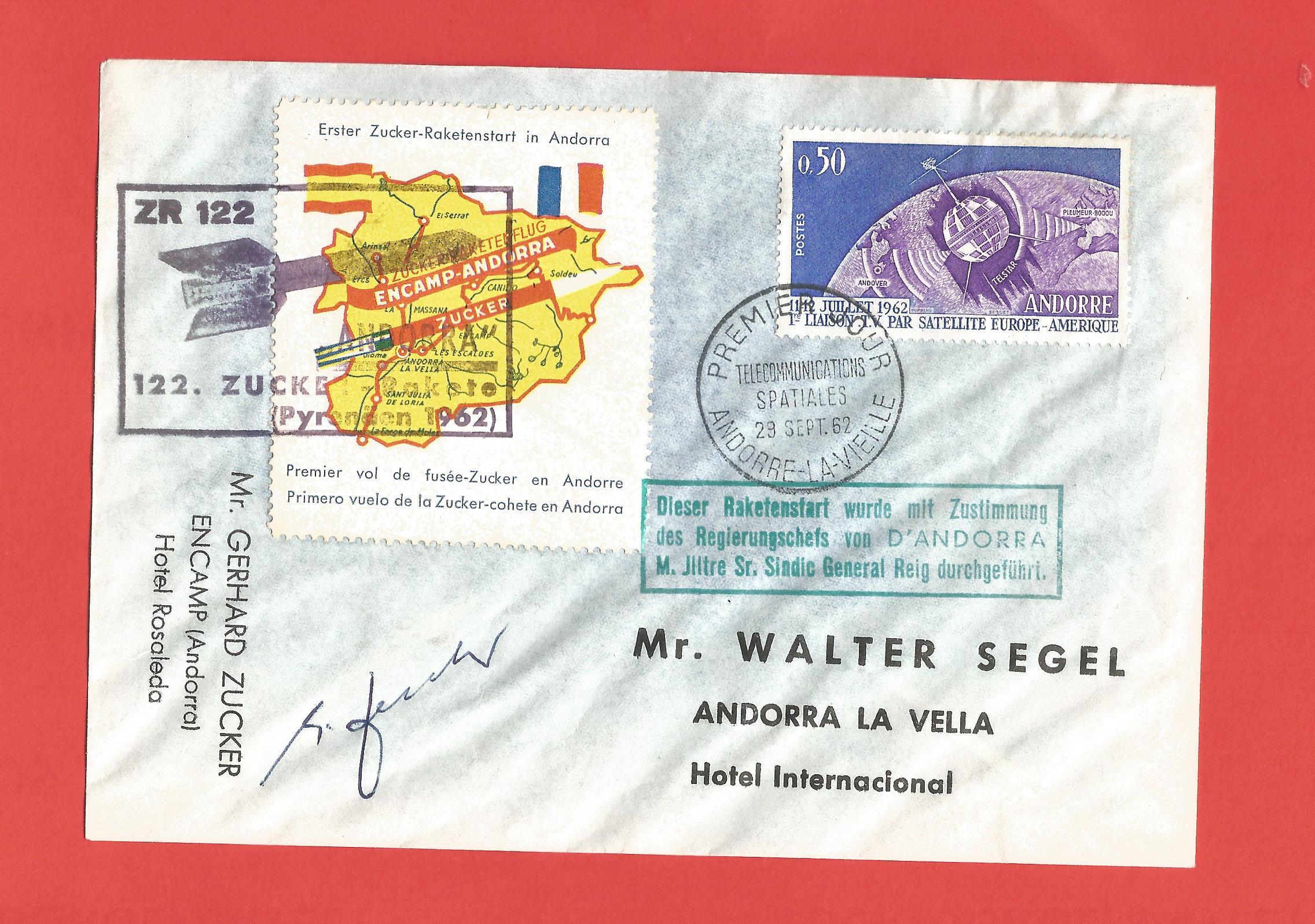 Gerhard Zucker signed rocket mail, rocket-flown FDC for ANDORRA Telstar Space Satellite stamp from