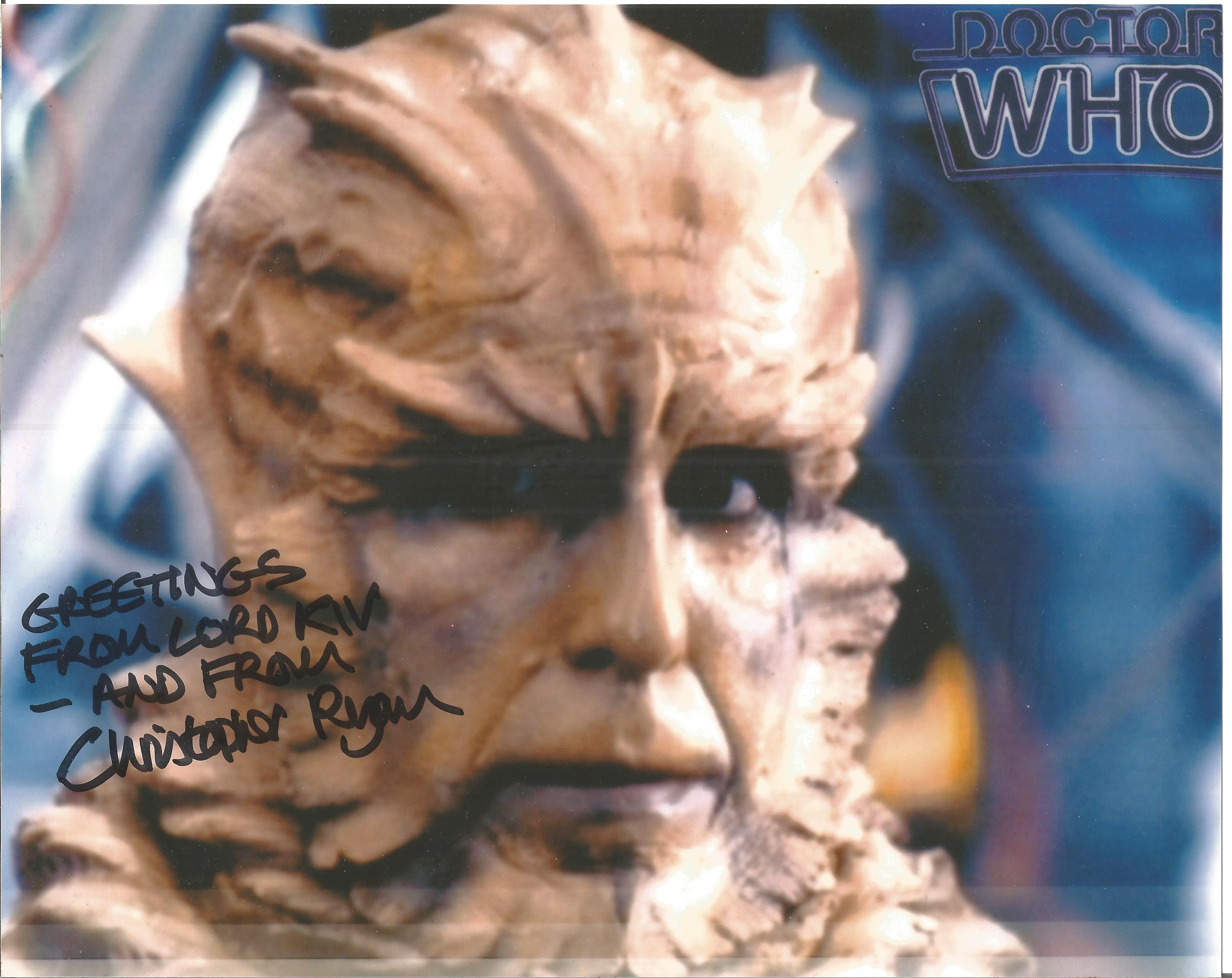 Christopher Ryan signed 10x8 colour image. Taken in his role on Doctor Who as Kiv. Since then he has