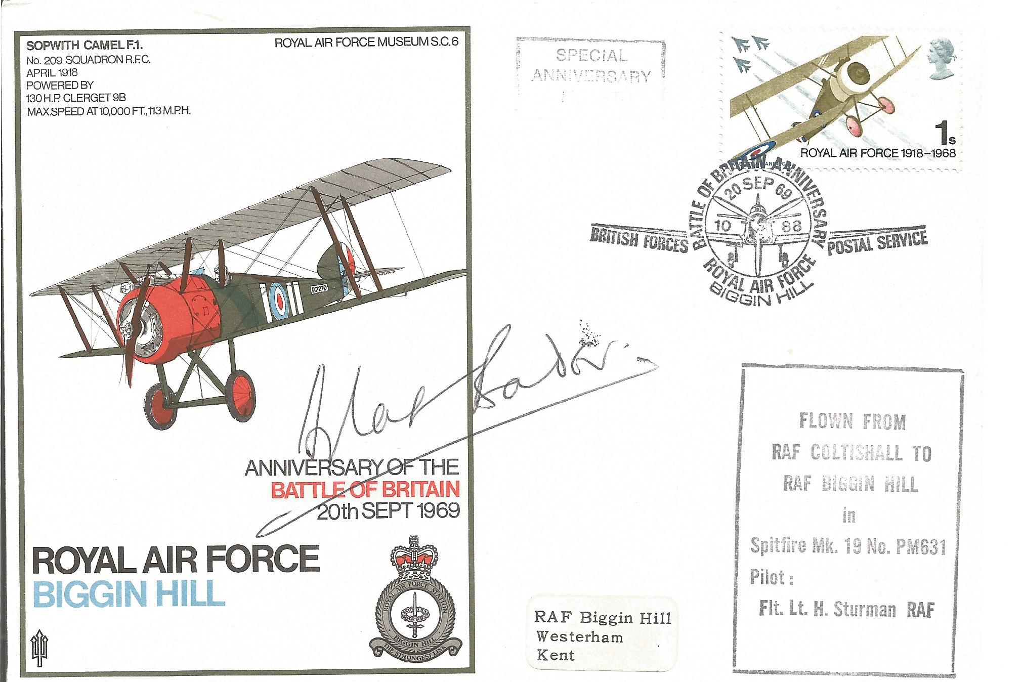 Group Captain Sir Douglas Robert Bader signed FDC. Bader was a Royal Air Force flying ace during the