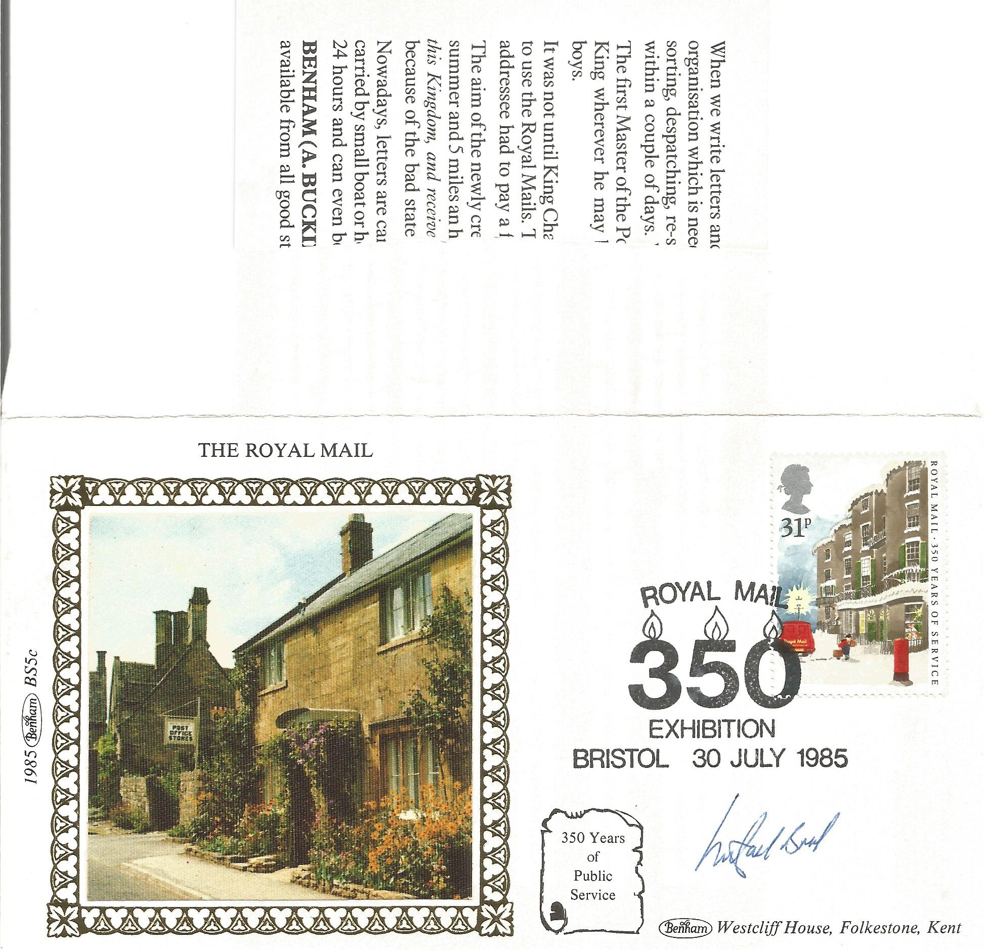 Michael Bond signed FDC celebrating 350 years of public service from Royal Mail. Also included, is