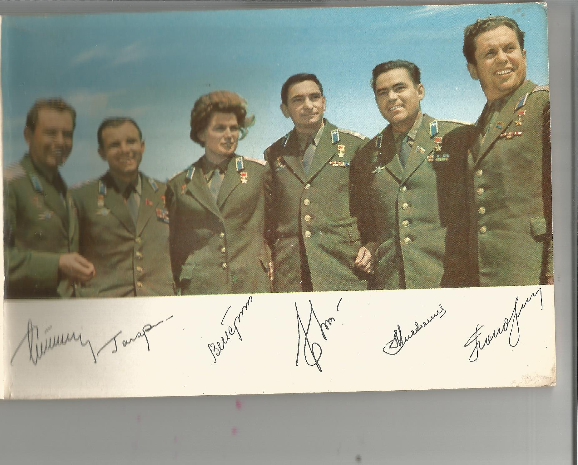 Valery Bykovsky signed Vintage Russian Cosmonauts picture postcard book. Bykovsky was a Soviet