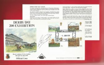 Lester Piggott, legendary jockey signed FDC in honour of Derby Day 200th Exhibition. Postmarked