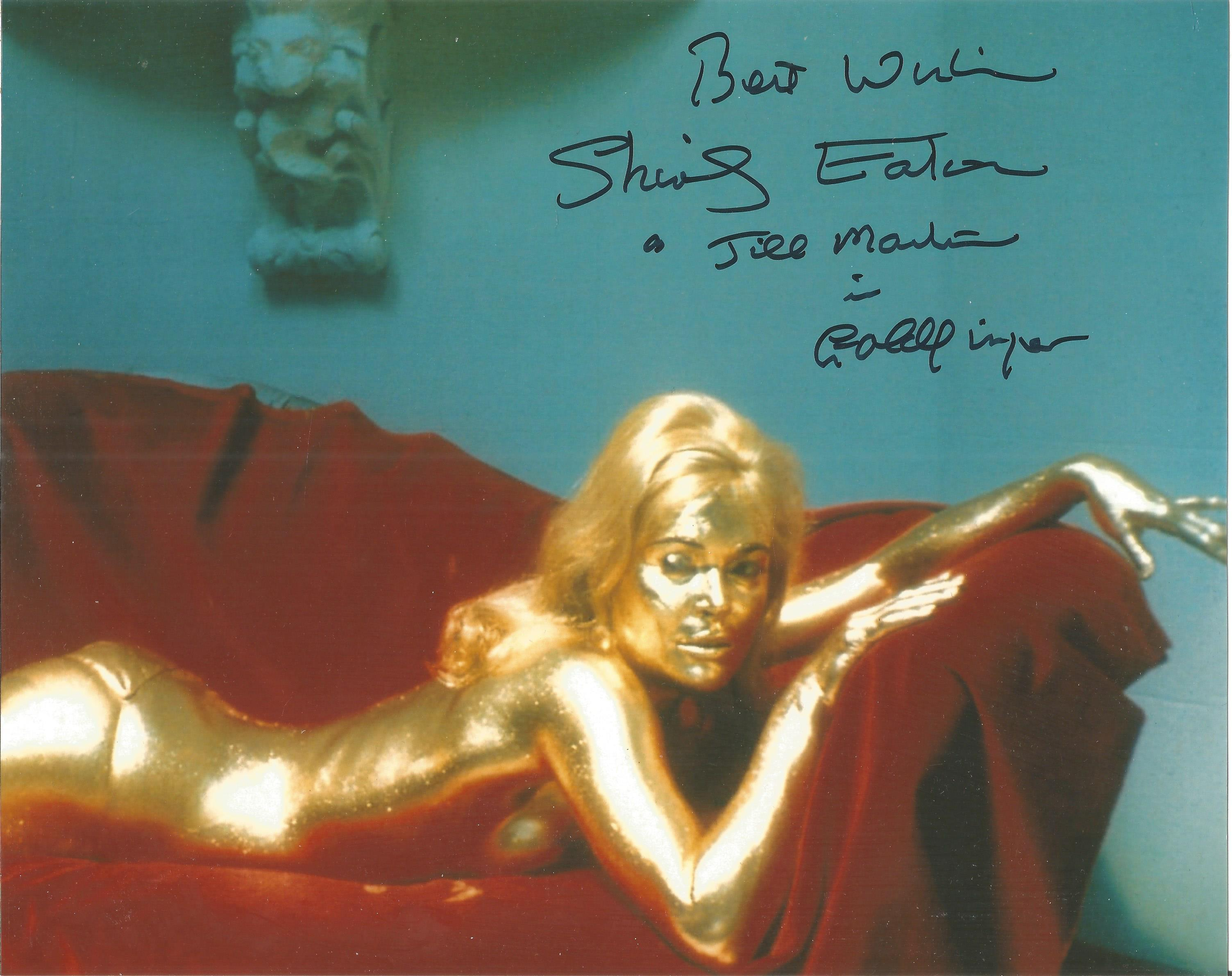 Shirley Eaton Goldfinger signed 10 x 8 inch colour photo on bed covered in gold, inscribed with
