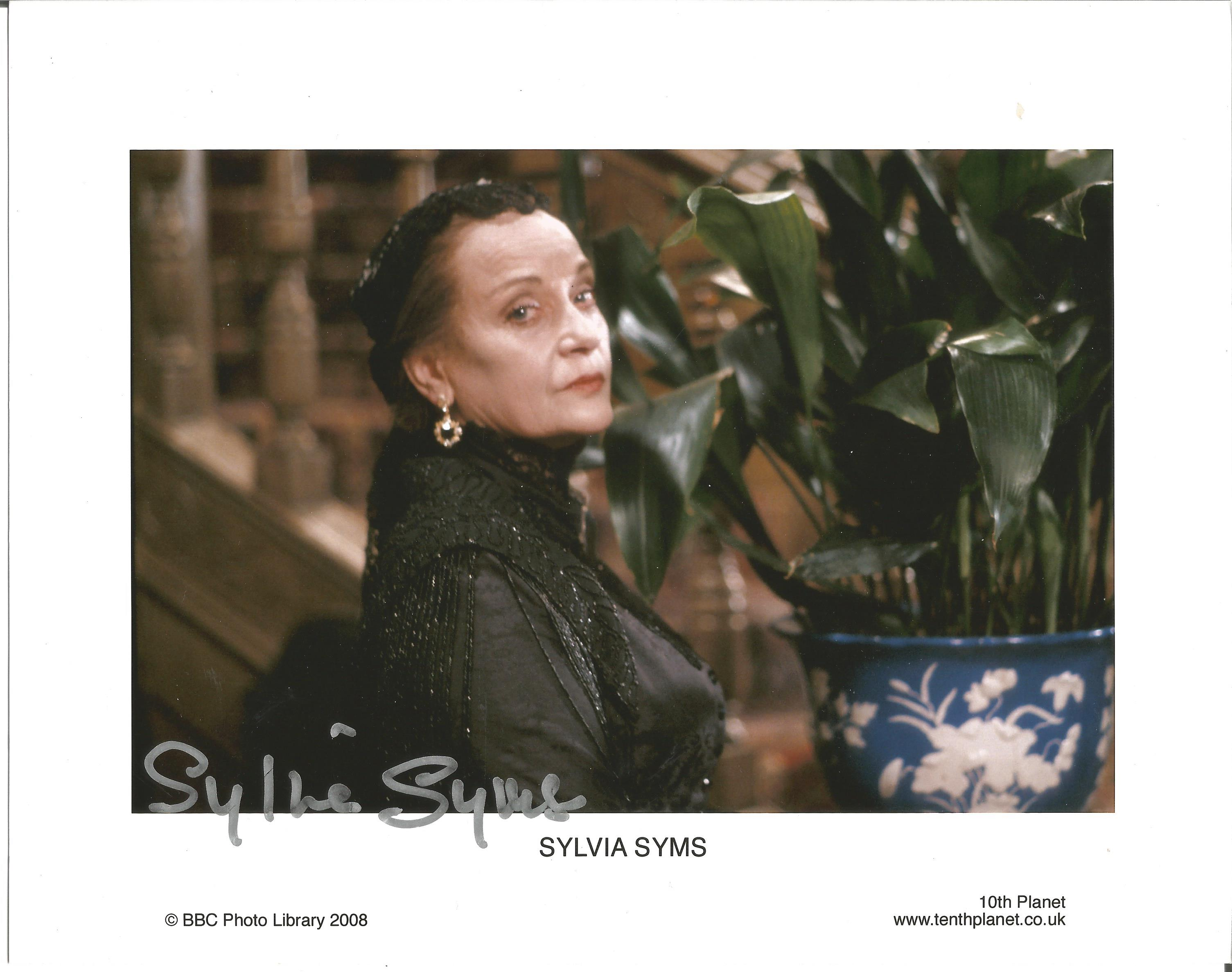 Sylvia Syms signed 10x8 colour promo photo. Syms was well known for her role as Mrs Pritchard in