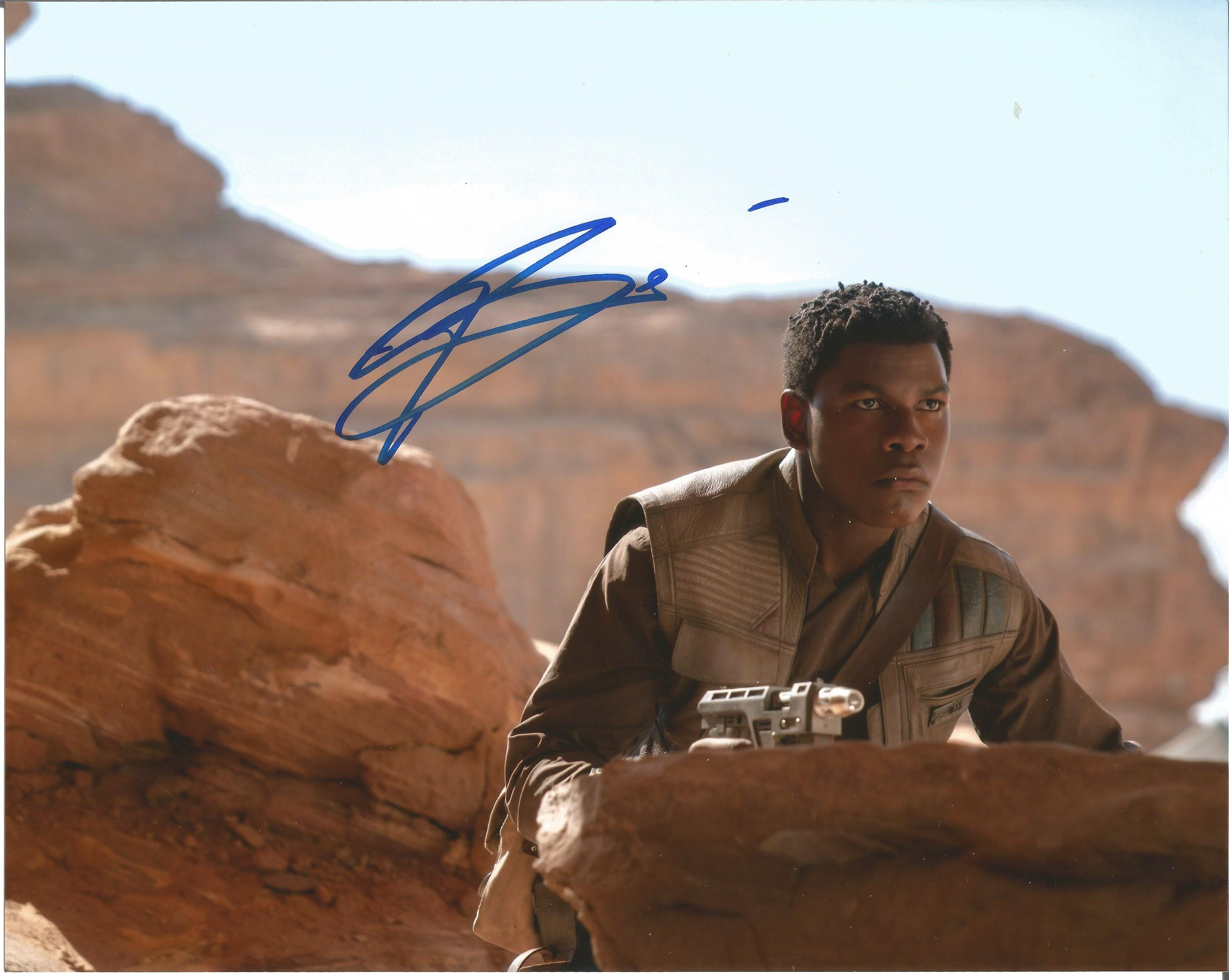 John Boyega signed 10x8 colour photograph pictured during his role as Finn in the Star Wars sequel