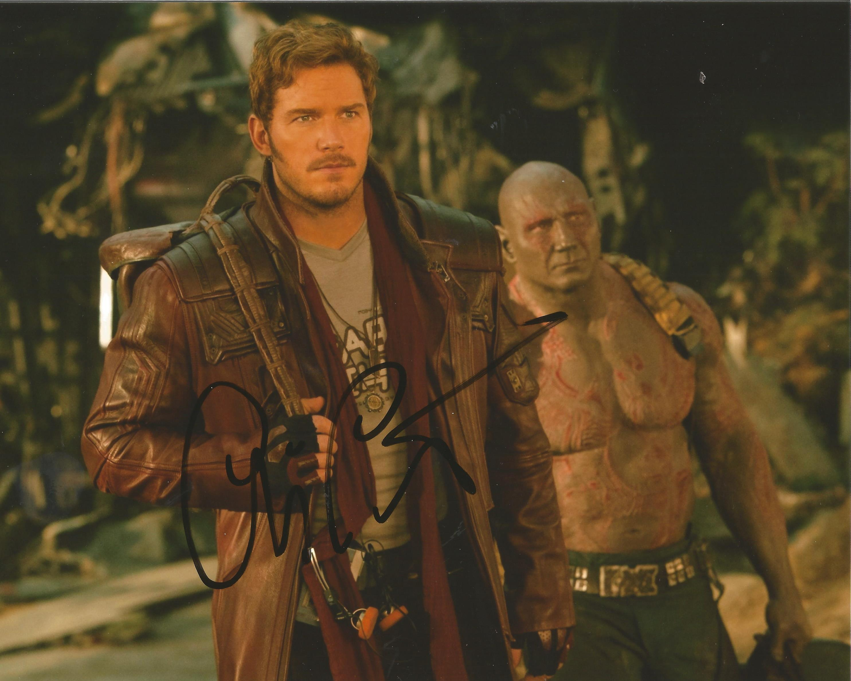 Chris Pratt signed 10x8 colour photograph taken during his time playing Star Lord during Marvel film