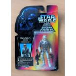 Star Wars, miniature action figure of Han Solo, complete in the box. The packaging shows some sigh
