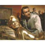 Shirley Eaton Goldfinger signed 10 x 8 inch colour photo on bed with Sean Connery covered in gold,