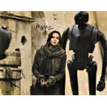 Felicity Jones and Alan Tudyk signed 16x12 colour photograph taken from a scene during the Star Wars