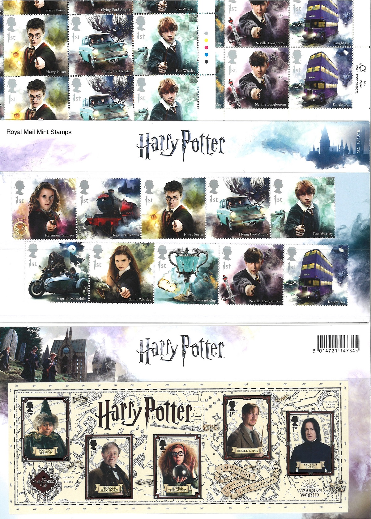 Harry Potter collection of stamp sheets and presentation packs. A total of 65 stamps well-