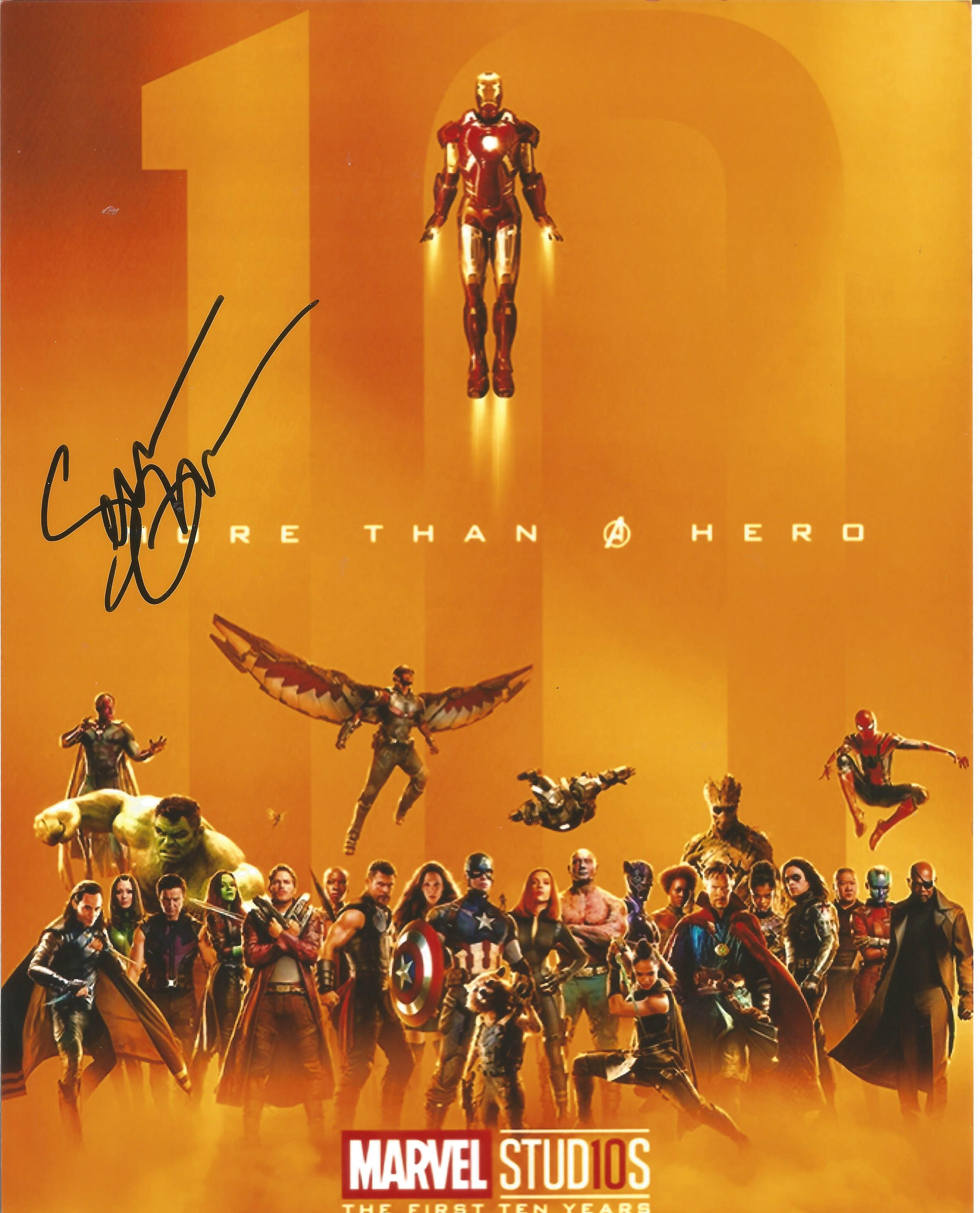 Sean Gunn signed 12x8 colour promo photograph celebrating the first 10 years of Marvel. Gunn is well