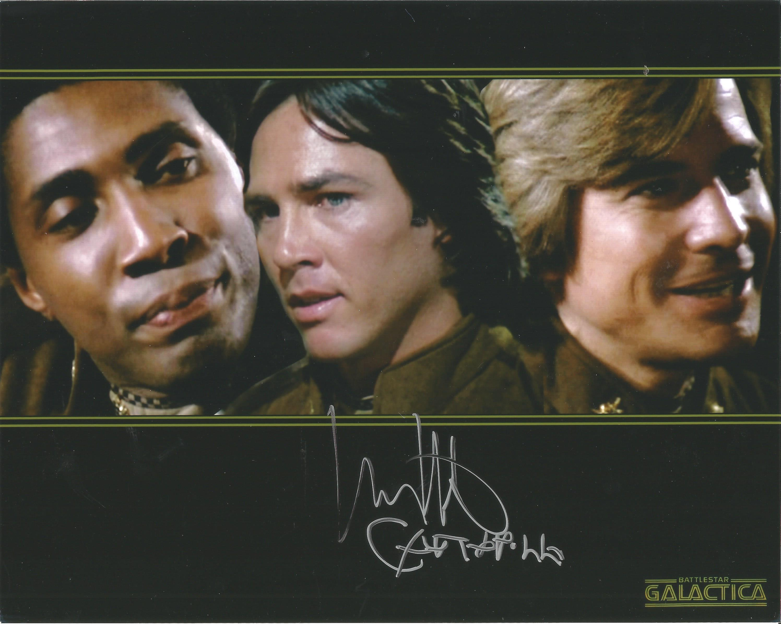 Richard Hatch signed 10x8 colour promo photo for Battlestar Galactica. Hatch was known for his