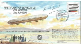 First Flight Of Zeppelin LZ1 cover signed by pilot. 2nd July 1900. Flown in Goodyear Airship