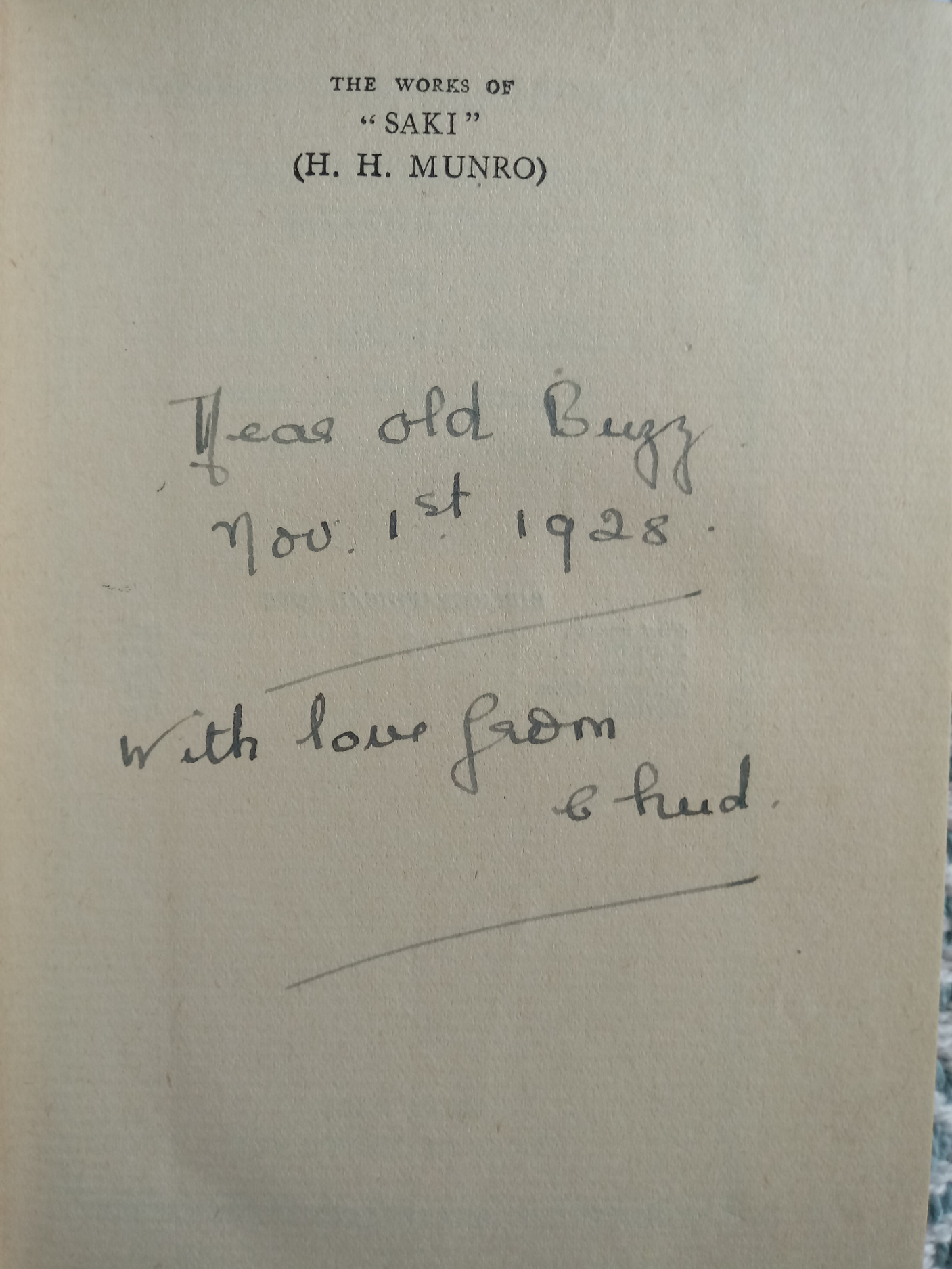 The Unbearable Bassington by Saki ( H. H. Munro) 244 pages with inscription on inside page Published - Image 3 of 4