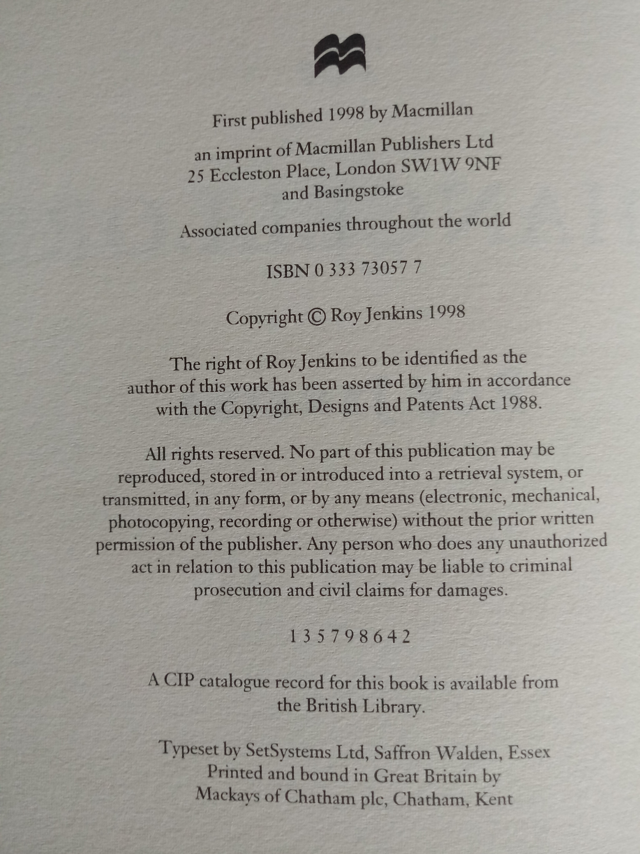 The Chancellors by Roy Jenkins hardback book 497 pages with inscription Published 1998 Macmillan - Image 2 of 2
