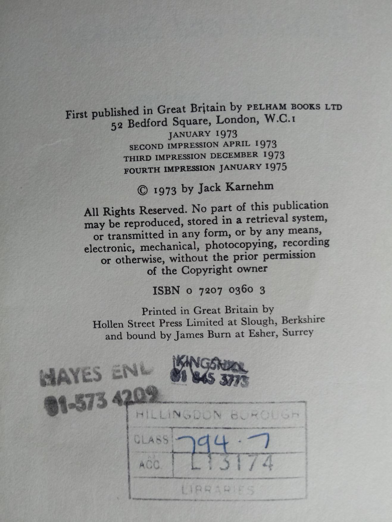 Billiards & Snooker hardback book by Jack Karnehm. Published 1973 by Pelham Books. Dust jacket - Image 3 of 3