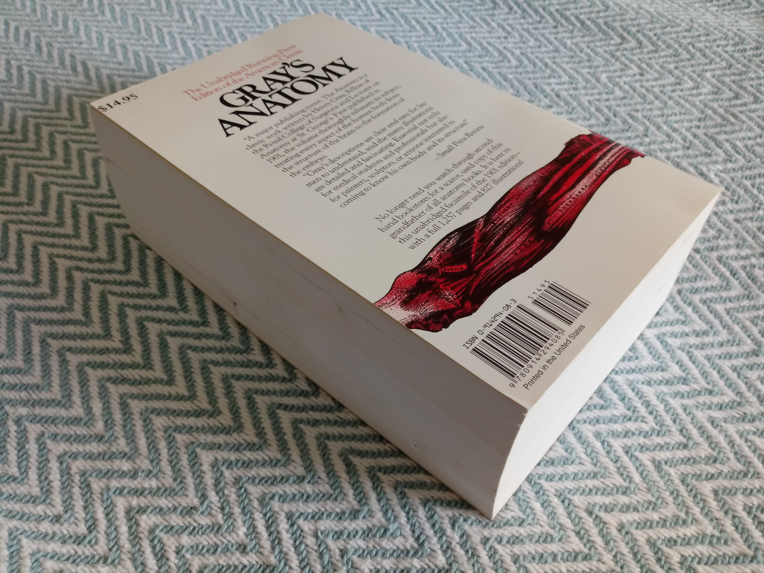Gray's Anatomy Unabridged Running Press Edition paperback book. Published 1974. 1257 pages. Some