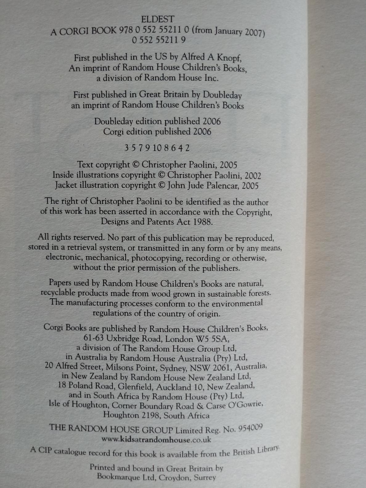 2 x Christopher Paolini softback books Eragon Inheritance Book One 517 pages Published 2007 Corgi - Image 3 of 3