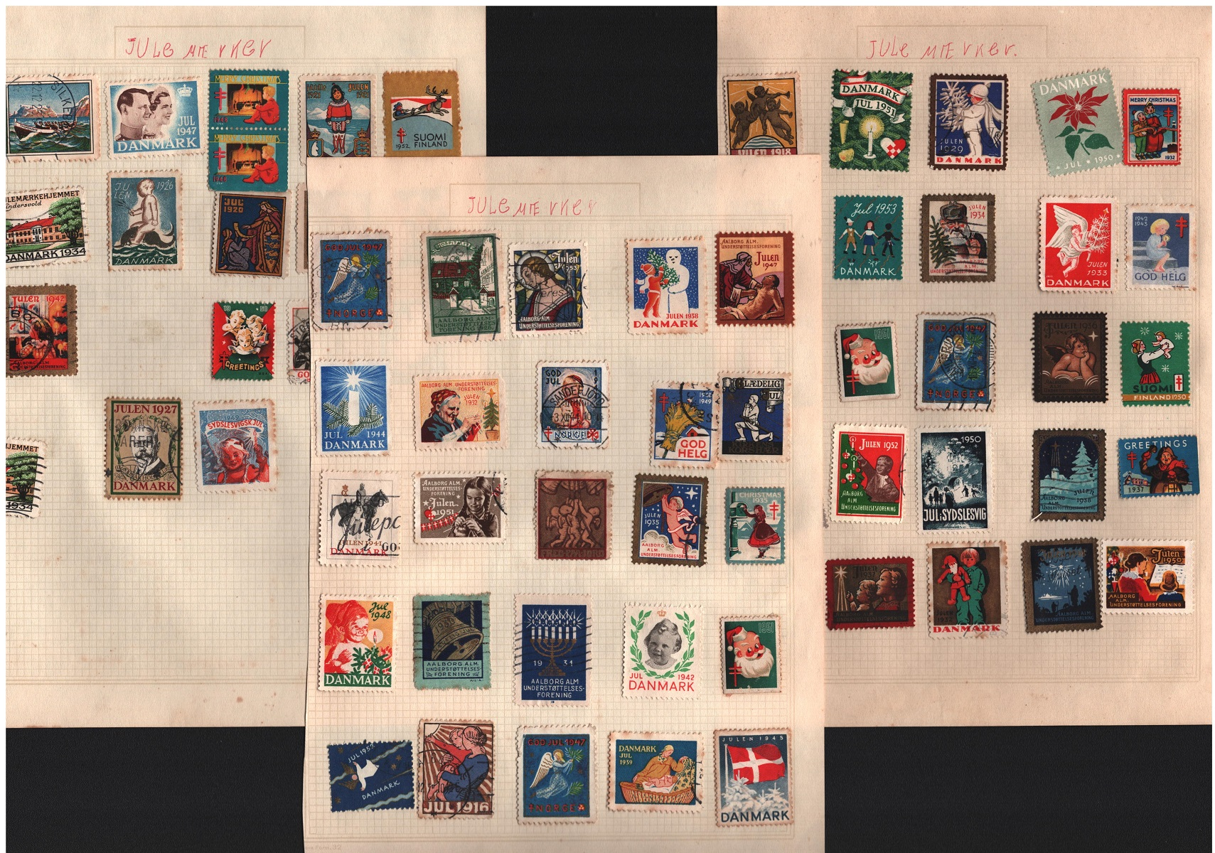 Assorted Scandinavian collection. Includes 3 pages of Danish charity labels 1916-1953 and approx.