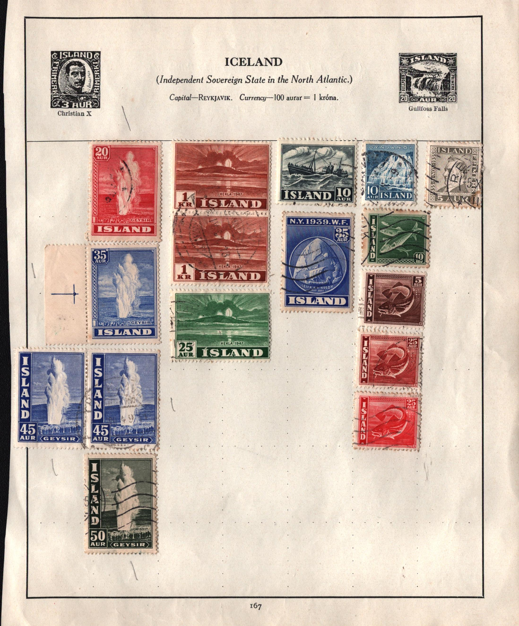 16 Iceland stamps on loose album page. Good condition. We combine postage on multiple winning lots