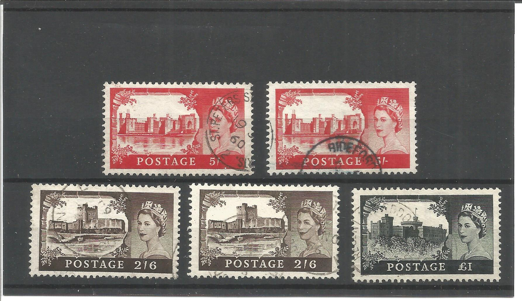 GB stamp collection on stock card. 5 stamps. SG595a (2), SG760(2) and SG762. Good condition. We