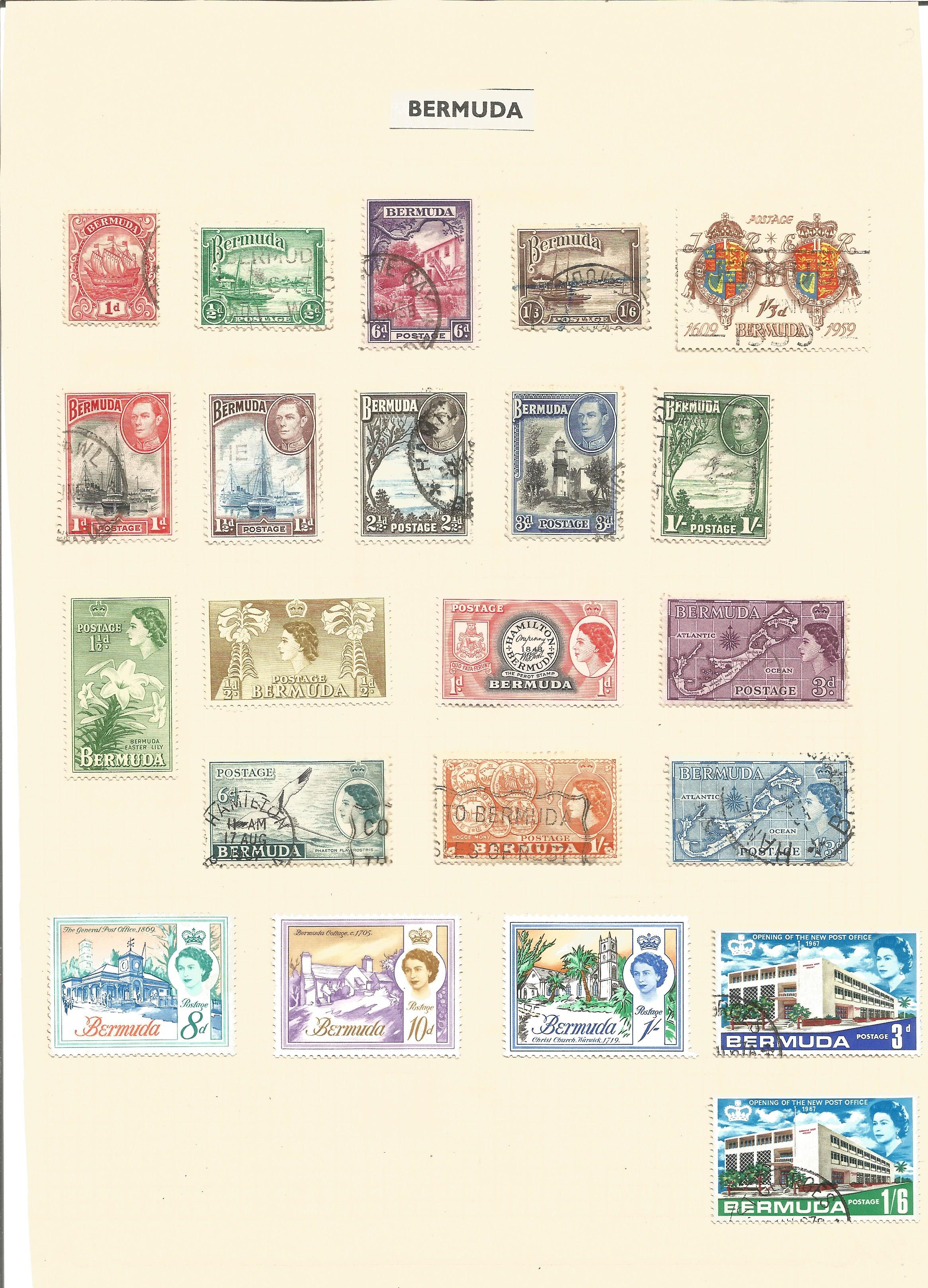 Bermuda and Basutoland stamp collection on 2 loose album pages. Good condition. We combine postage