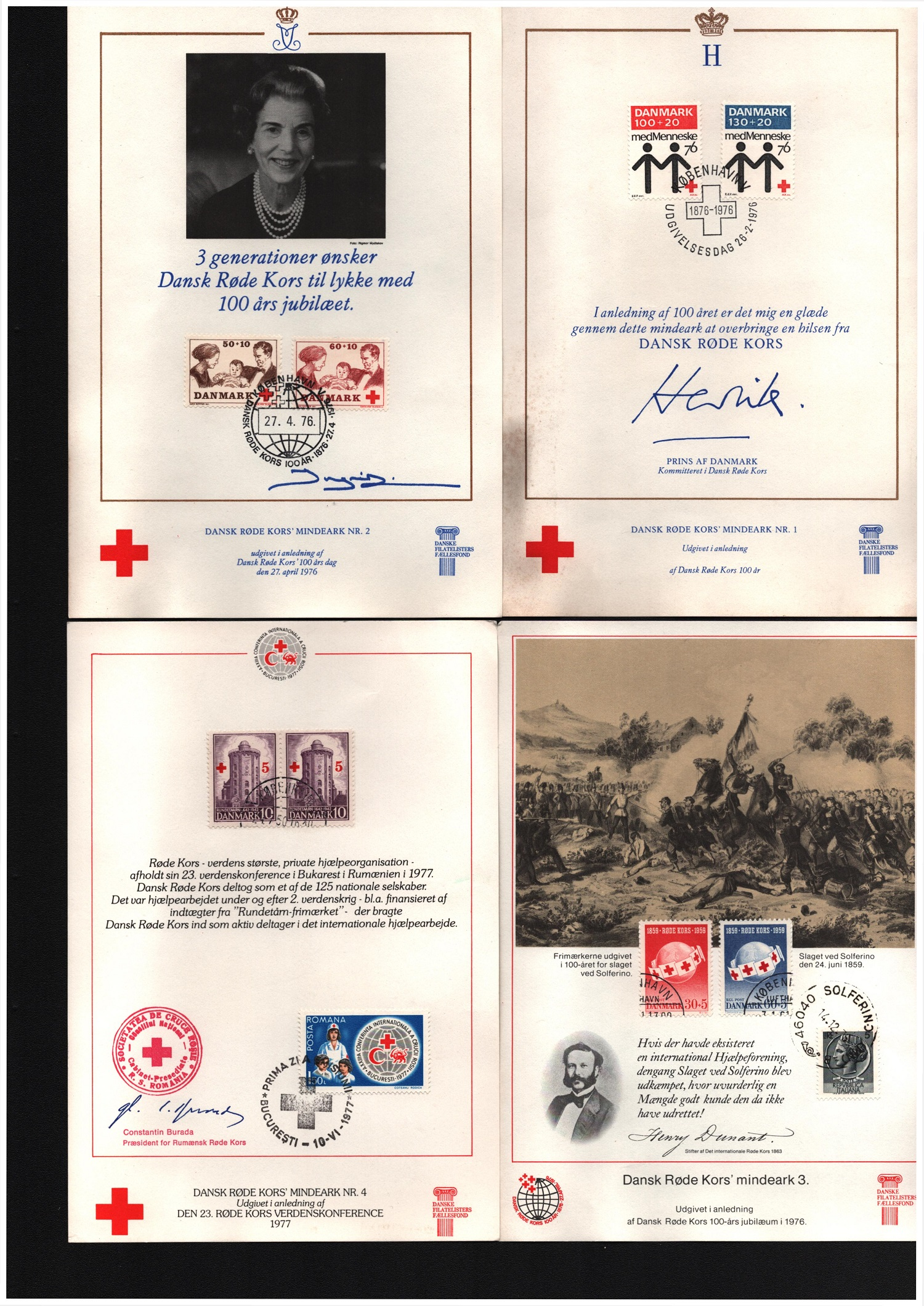 Assorted collection. Includes 11 postcards from Denmark mint, 2 postcards Denmark franked. 4 Red