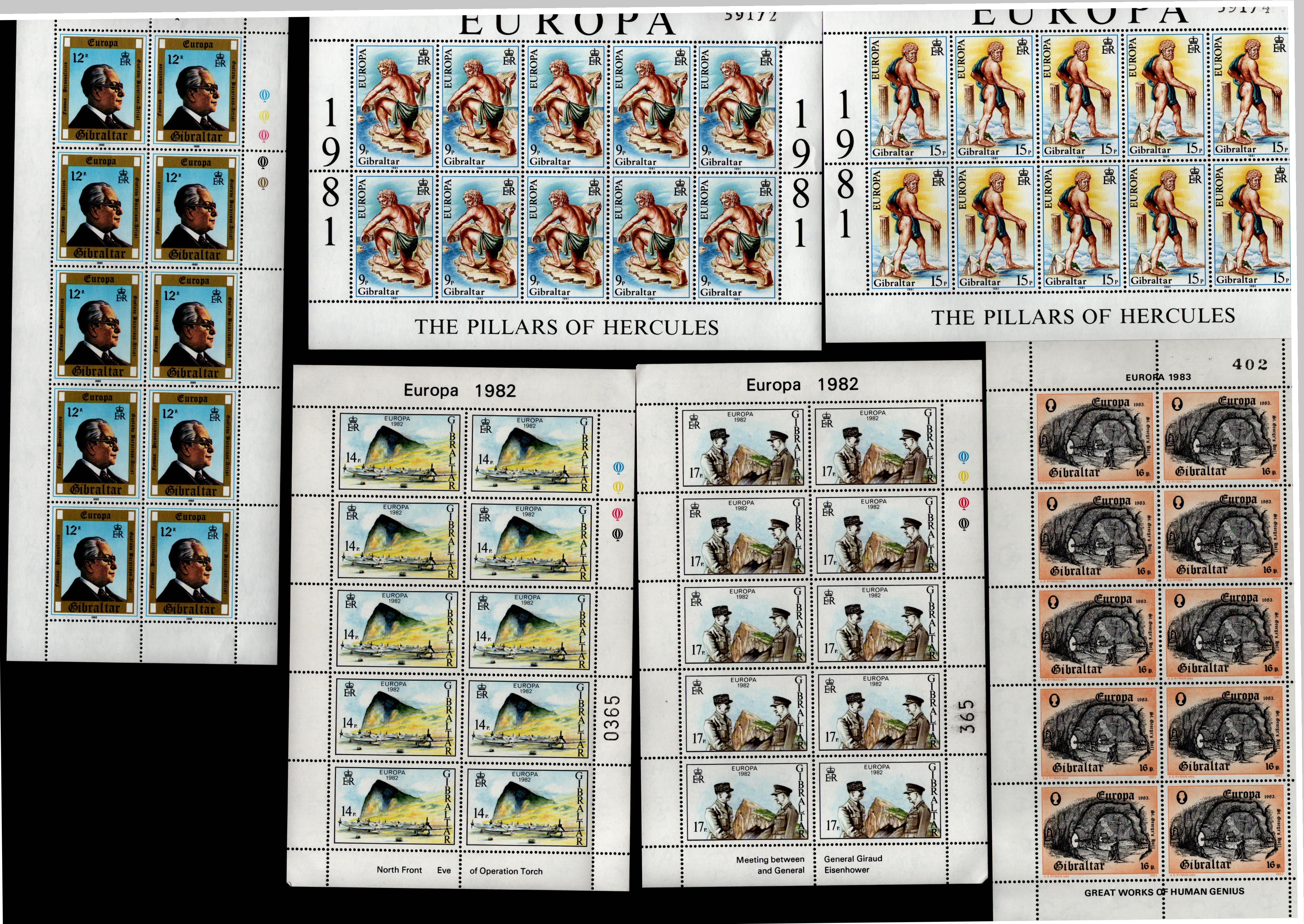 Gibraltar - Europa unmounted mint stamp collection. 12 sheets. Good condition. We combine postage on
