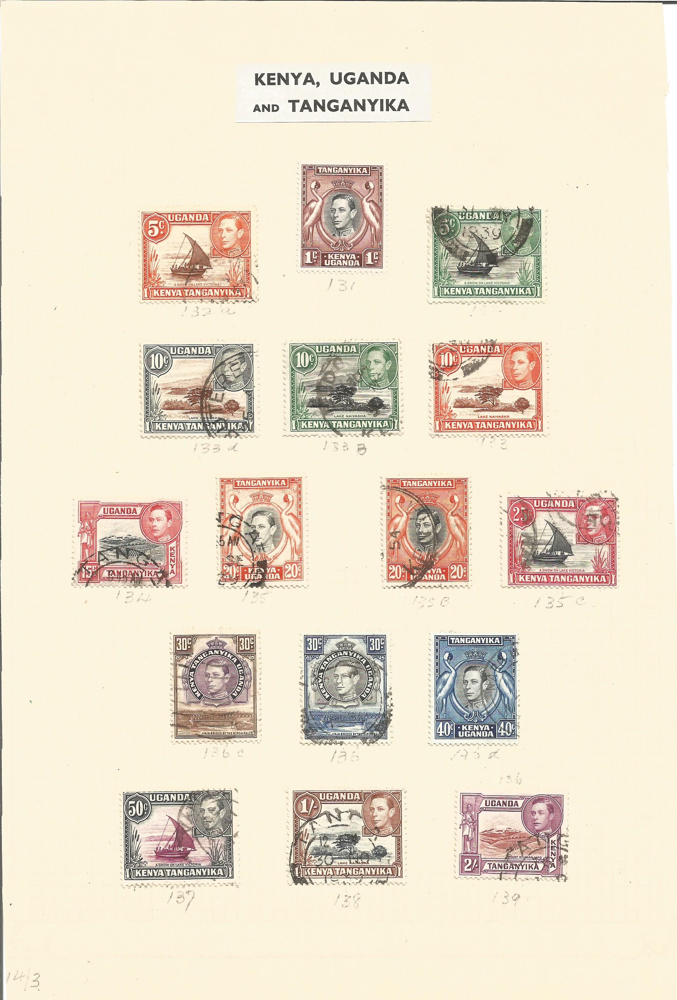 Kenya, Uganda and Tanzania stamp collection on 2 album pages. Good condition. We combine postage - Image 2 of 2