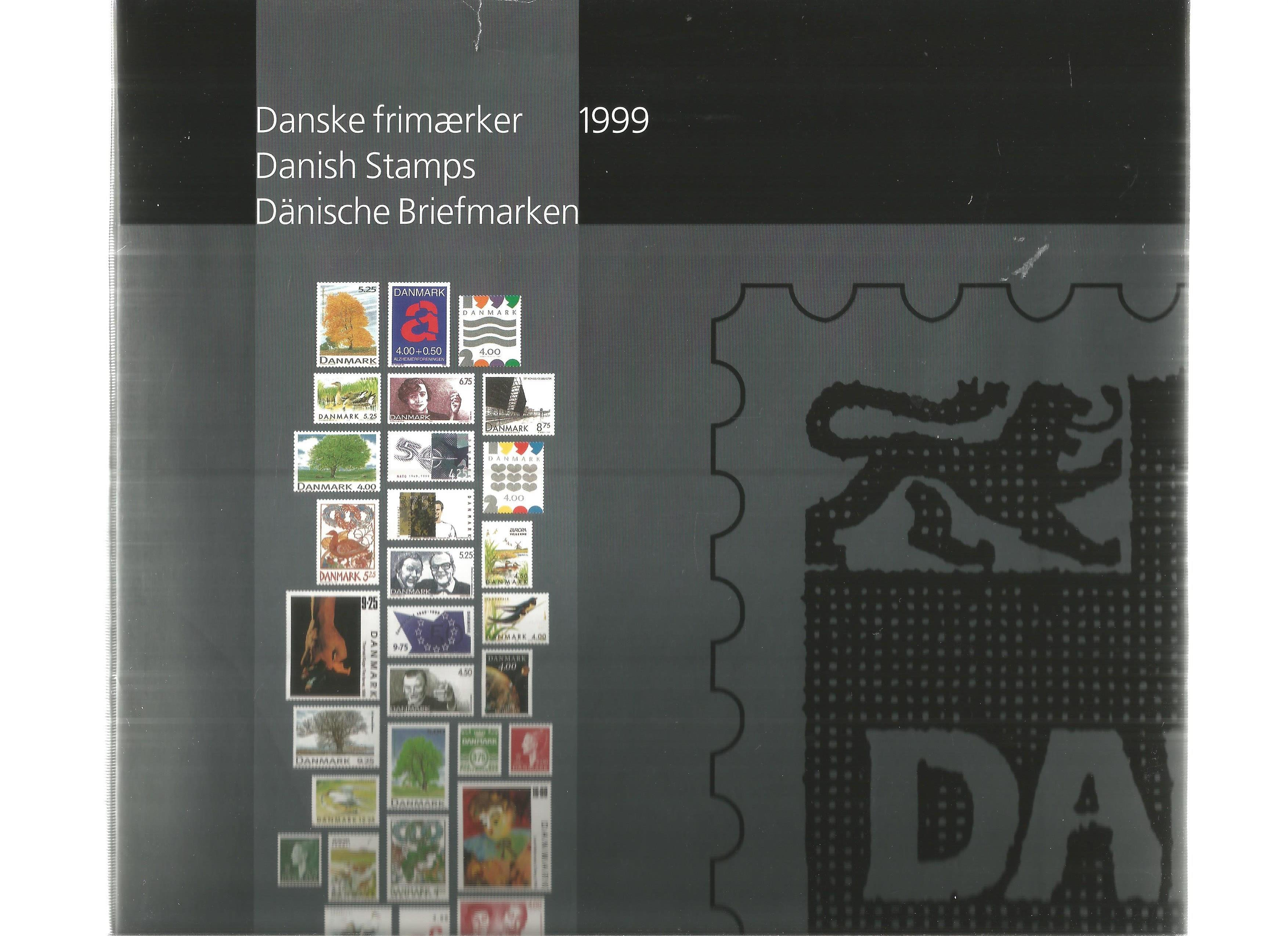Danish 1999 stamp yearbook. Unmounted mint stamps. Good condition. We combine postage on multiple