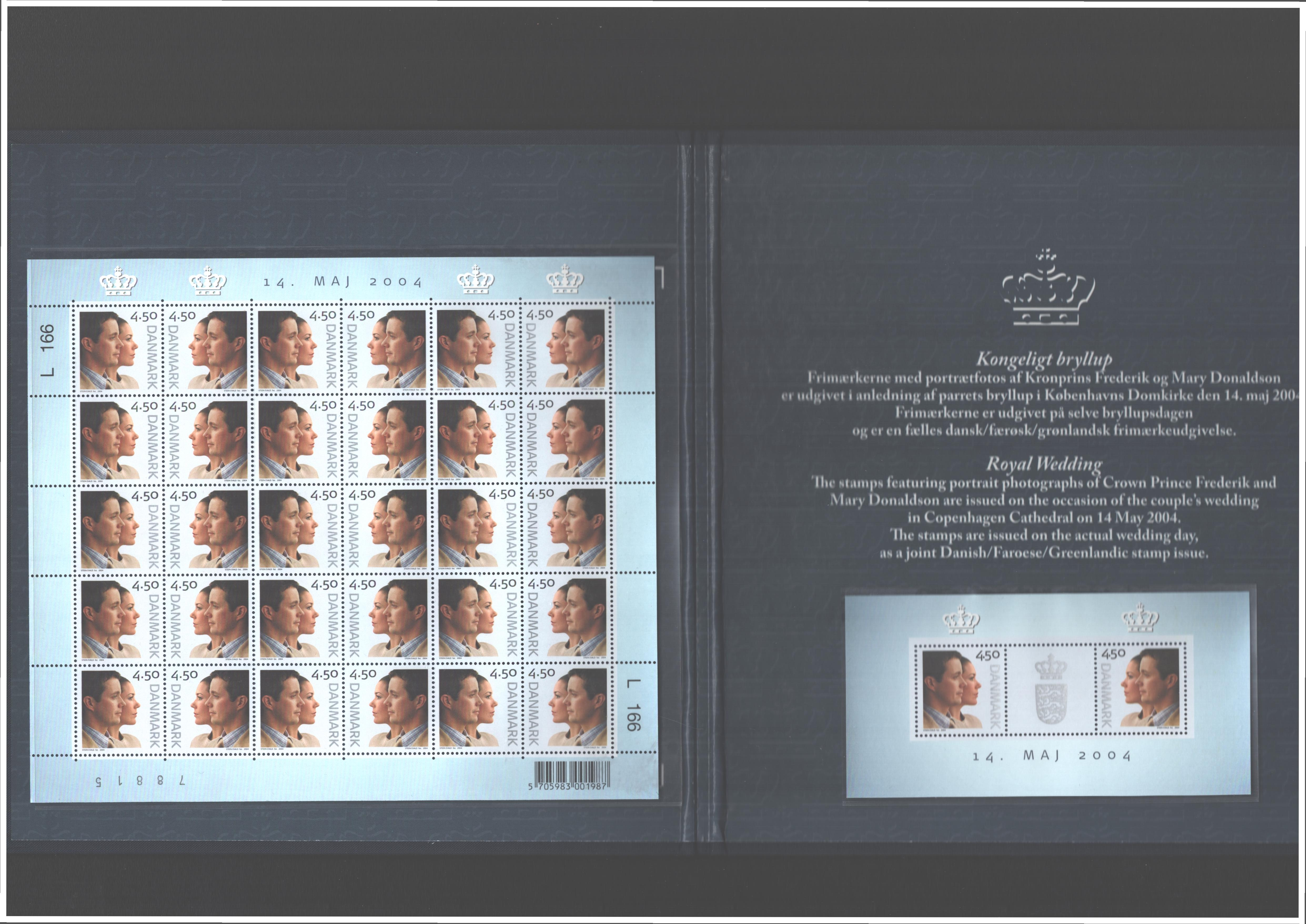 Danish 2004 Royal wedding stamps in folder. SGMS1384, SG1382 and SG1383. Good condition. We - Image 2 of 2