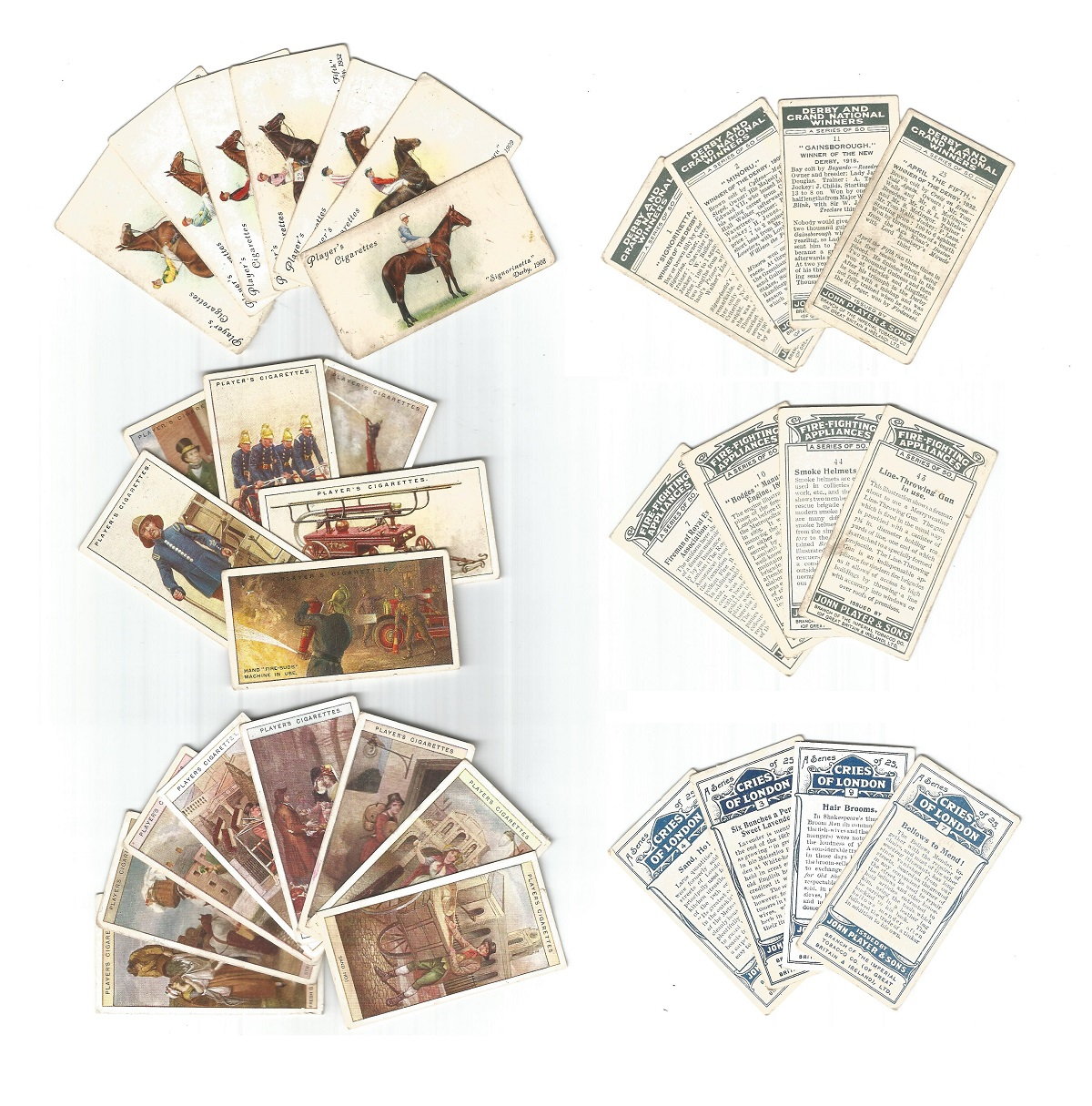 Cigarette card collection by John player and sons. Includes 1913 cries of London 8 cards, 1930