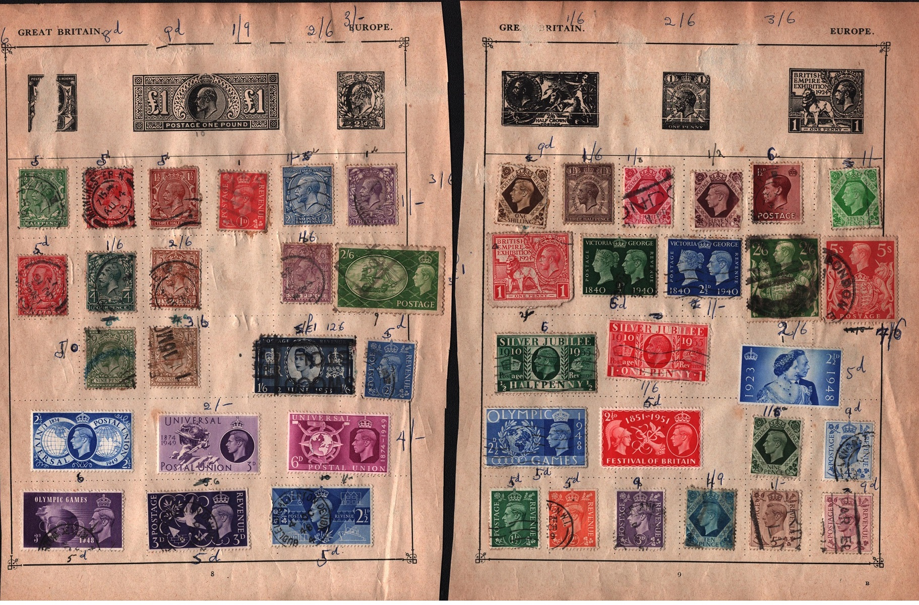 5 pages of GB stamps QV and QEII. Good condition. We combine postage on multiple winning lots and