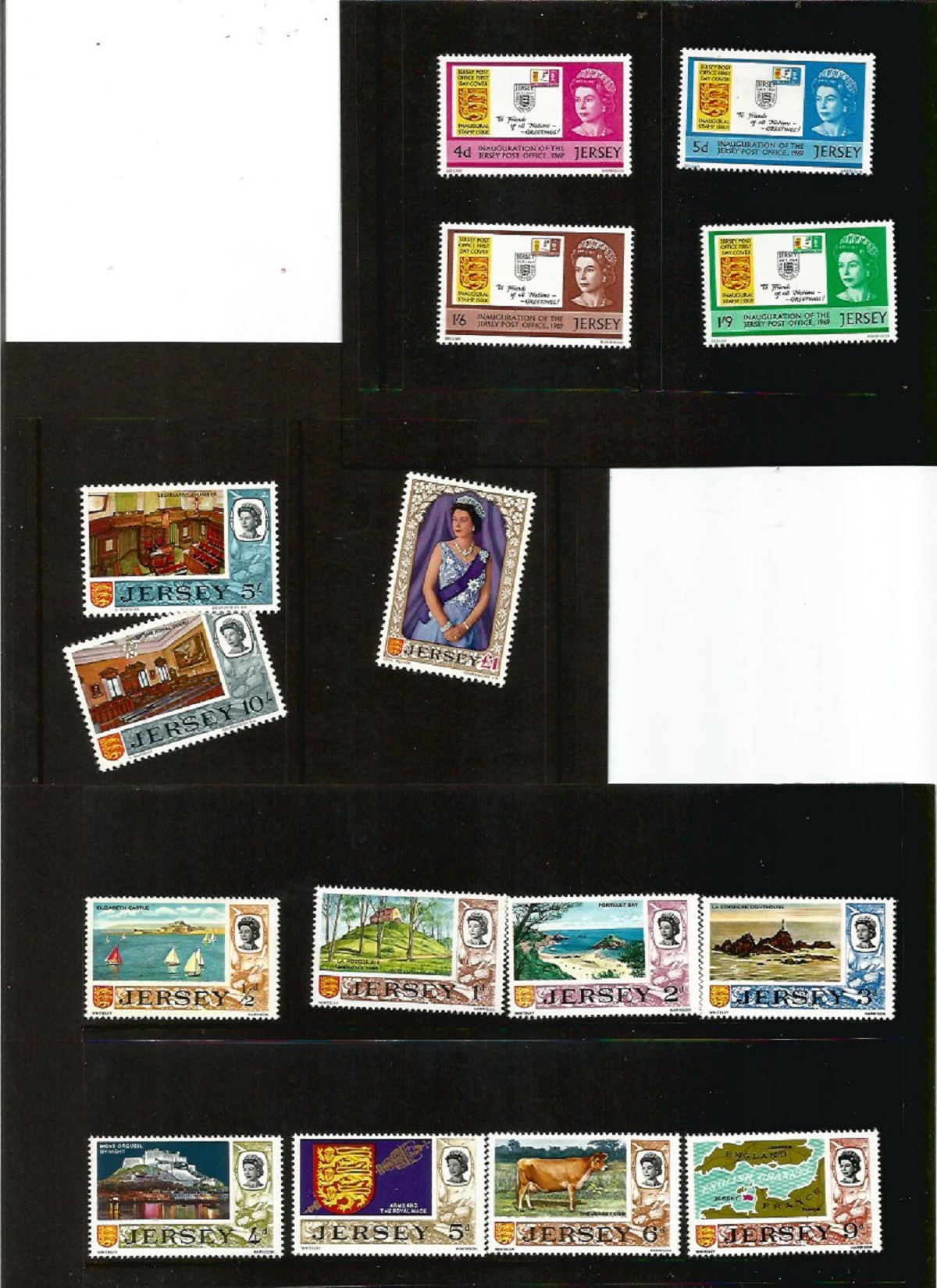 Jersey postal collection. Includes 2 presentation packs silver jubilee and 1st defs. 3 FDC's -