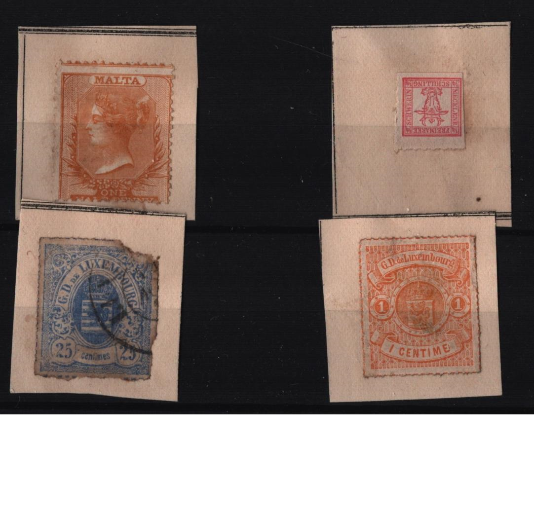 Assorted stamp collection. Mecklenburg - Strelitz 1864 SG7 red mint. Malta QV stamp, Luxembourg 2