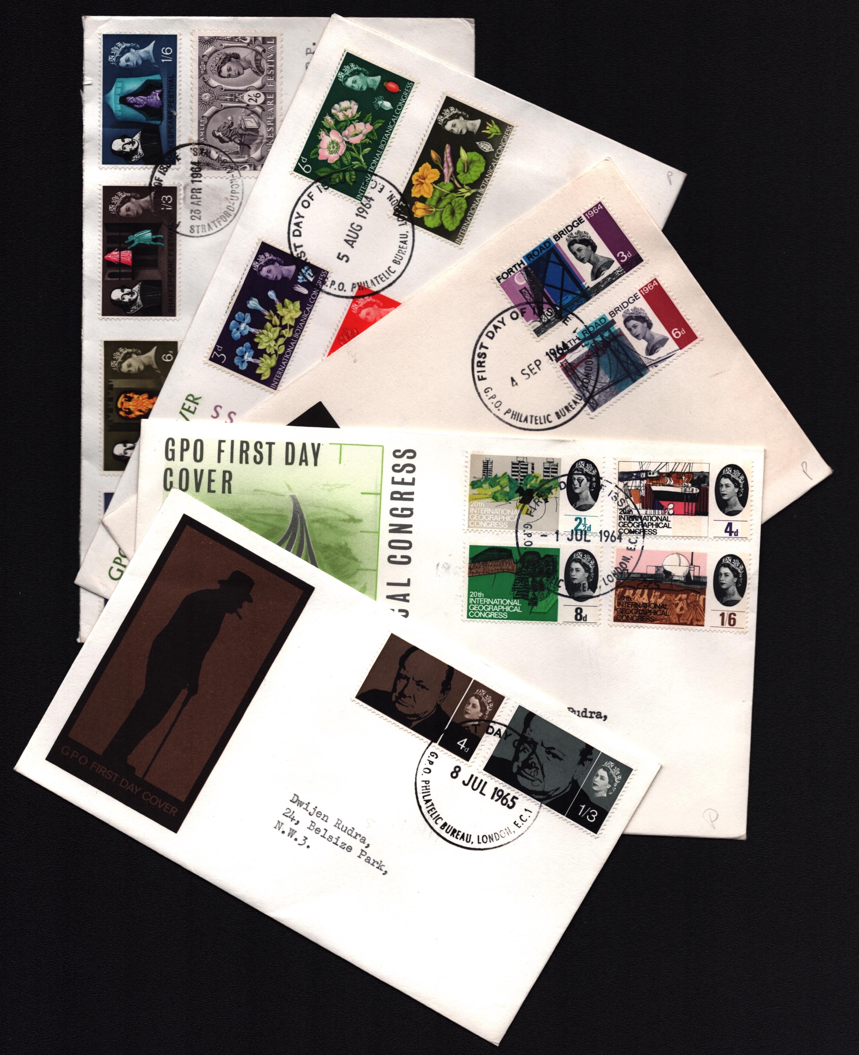 5 GB FDC collection. 1964/1965. Cat value approx £80. Good condition. We combine postage on multiple