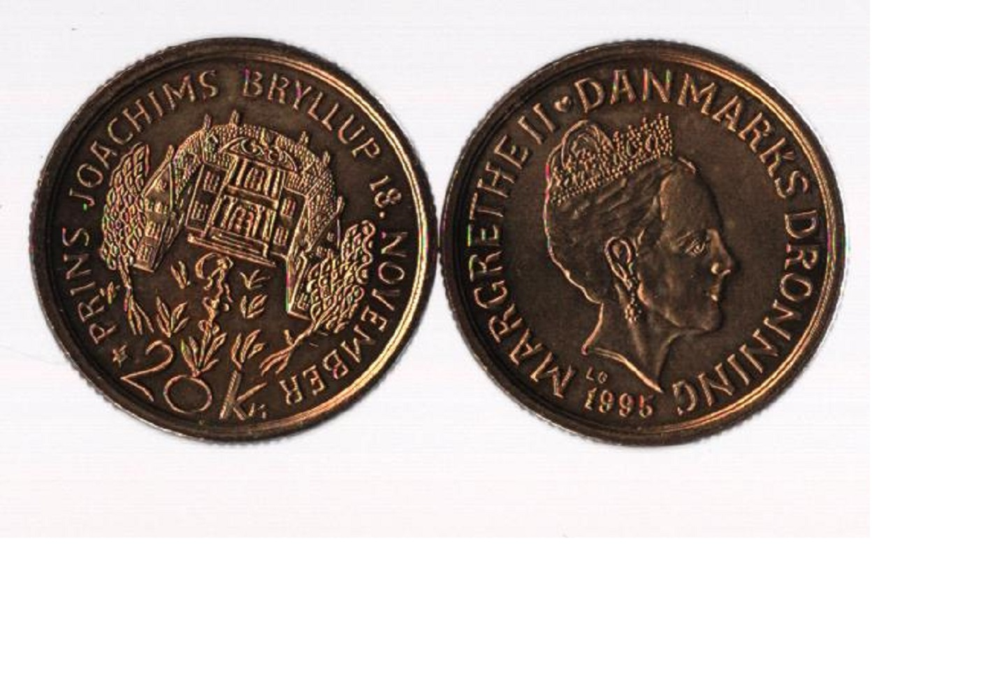 Danish coin collection. 1995. 2 coins both 20k. Good condition. We combine postage on multiple