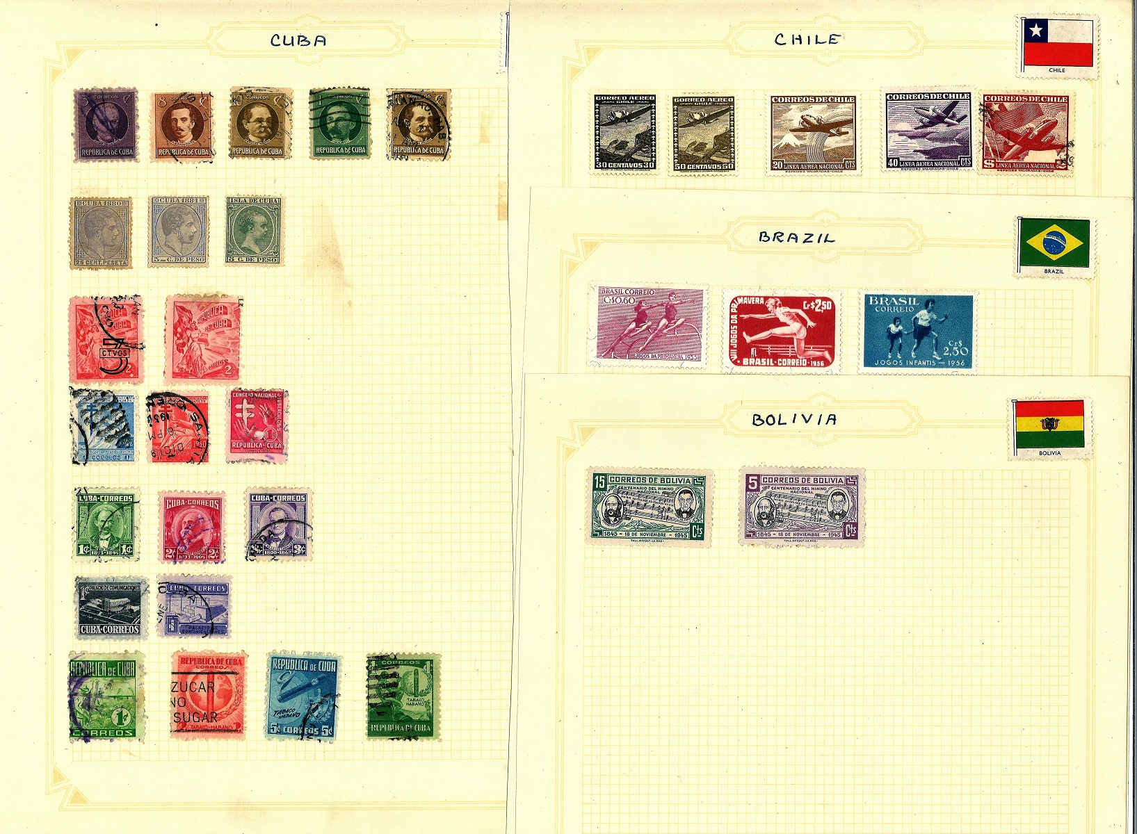 South America stamp collection 17 loose album pages countries include Argentina, Brazil, Colombia,