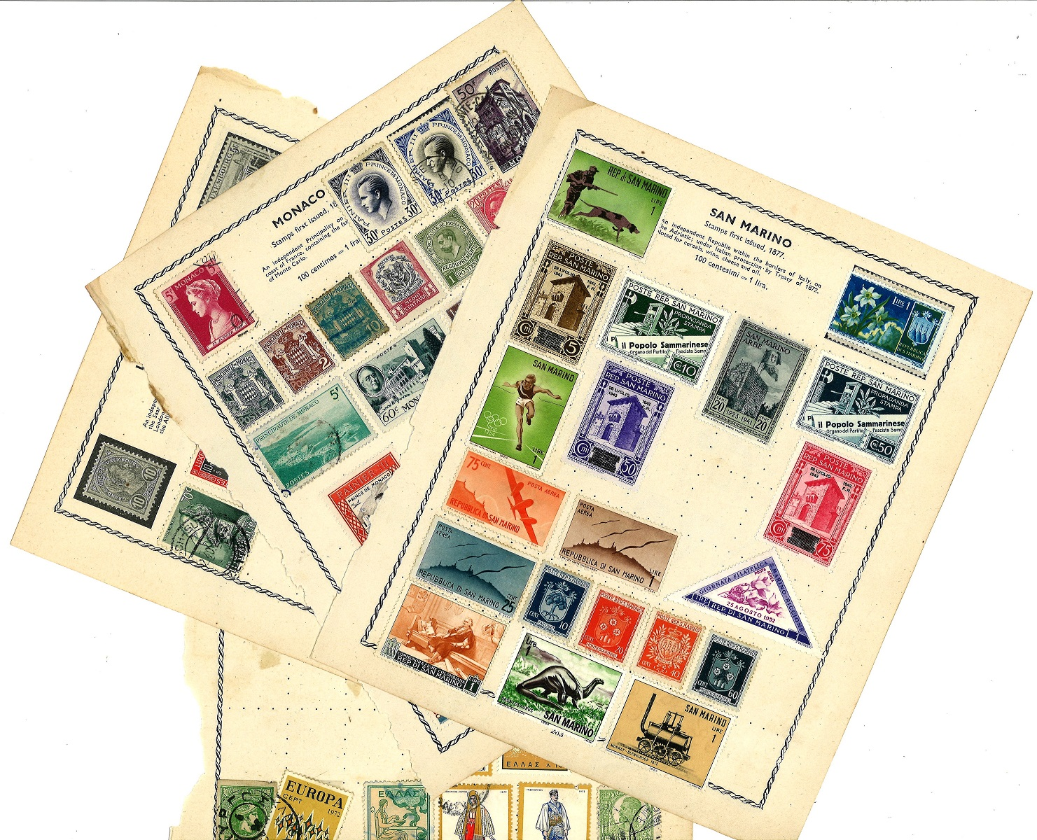 European stamp collection 7 loose album pages old stamps countries include San Marino, Monaco and