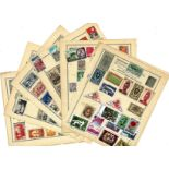 World stamp collection 32 loose album pages countries include French Colonies, French Morocco,