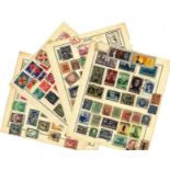 European Stamp collection 25 loose album pages old stamps countries include Yugoslavia, Poland,