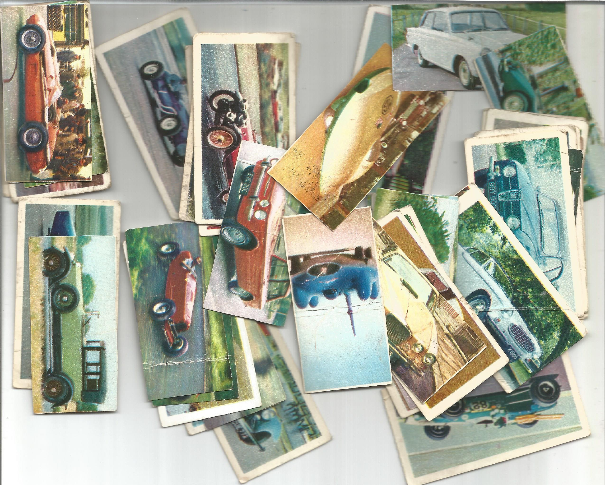 Cigarette card collection. Includes Lyons maid 1966 famous cars 38 cards, The molassme co 1964 - dog