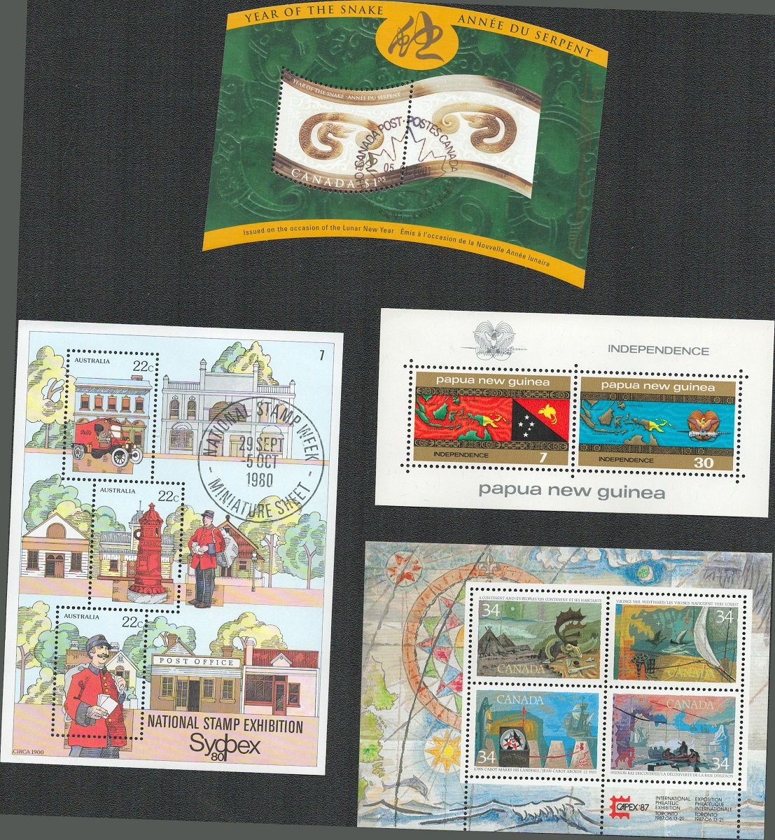 4 miniature sheets/ sheets of stamps. Some used. Includes Canada, Australia, Papua New Guinea.