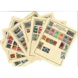 European stamp collection 32 loose album pages countries include French Colonies, Andorra and