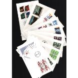 Danish FDC collection. 24 in total. Cat value over £150. 1977/1993. Good condition. We combine