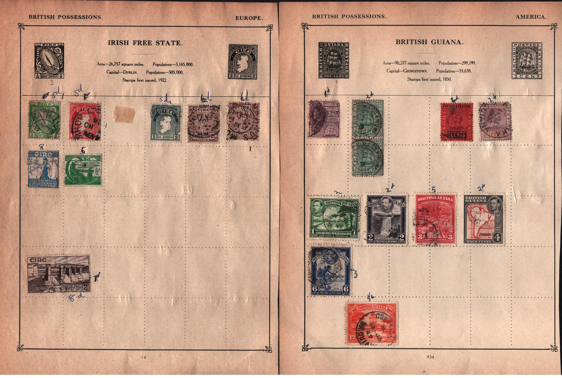 BCW stamp collection on 17 loose pages. Includes Jamaica, Ireland and more. Good condition. We